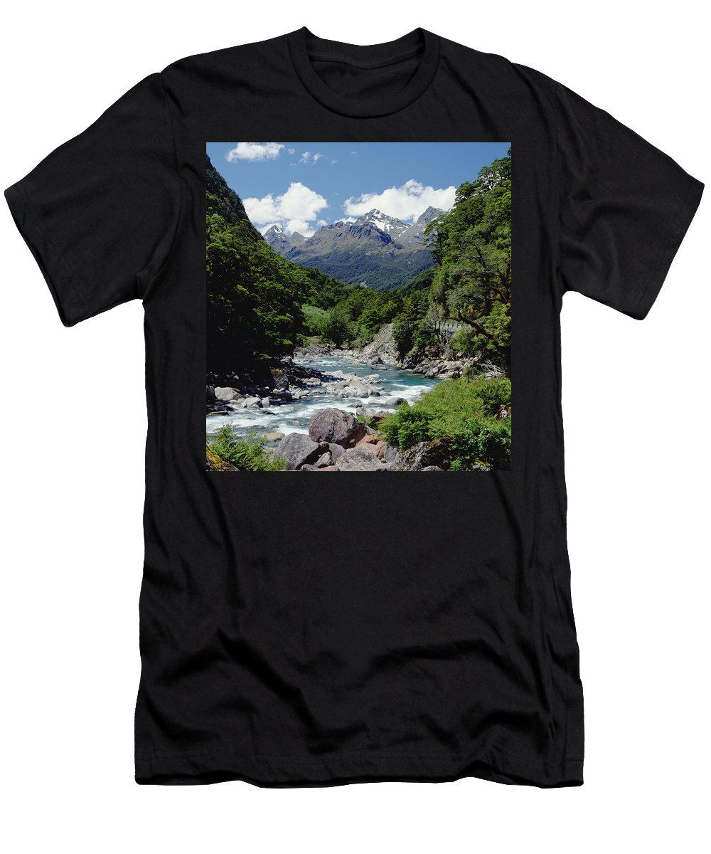 Feb0514 Men's T-Shirt (Athletic Fit) featuring the photograph Hollyford River And The Eyre Range by Konrad Wothe