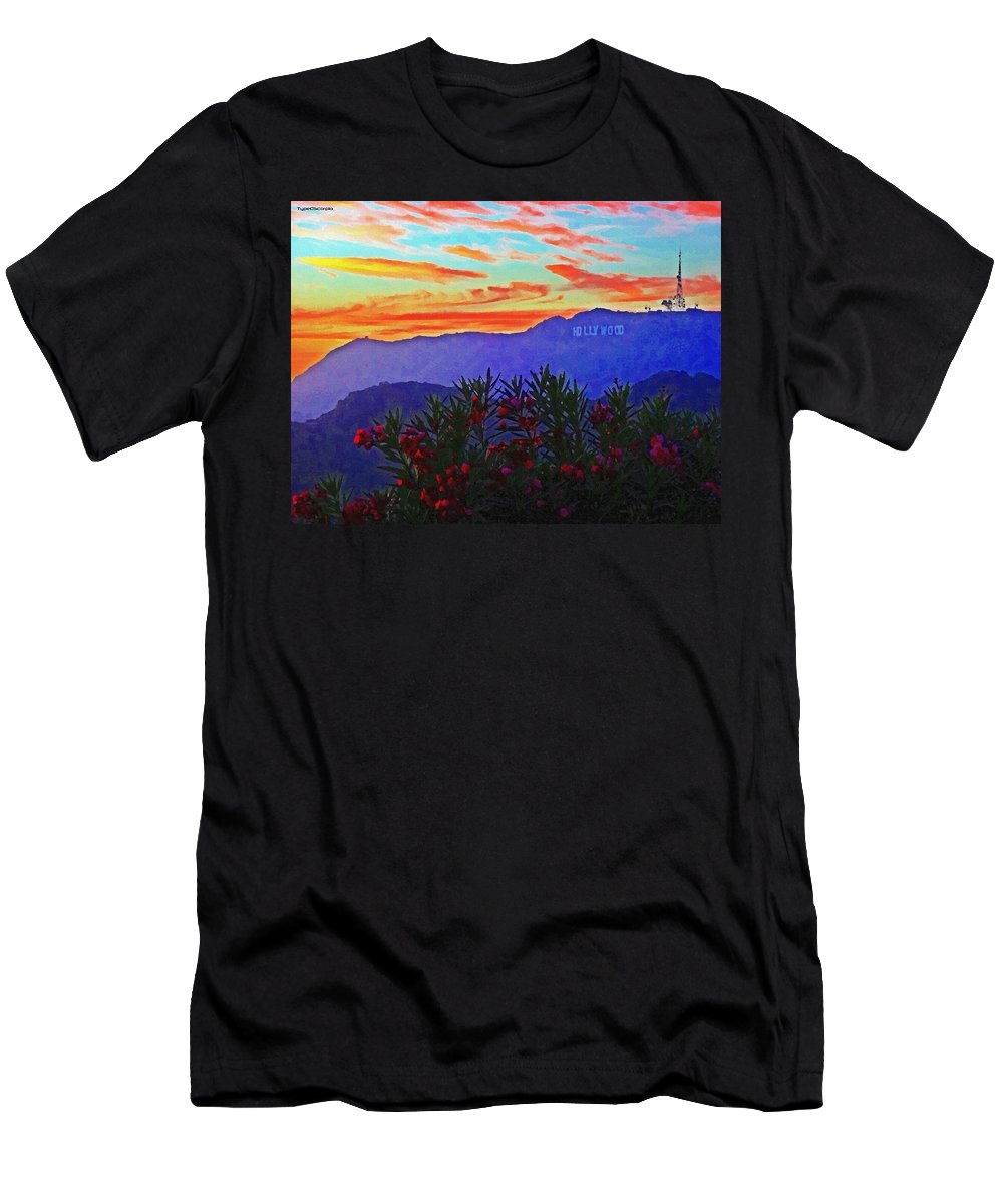 Hollywood Men's T-Shirt (Athletic Fit) featuring the digital art Hollywood Sunset by James Markey