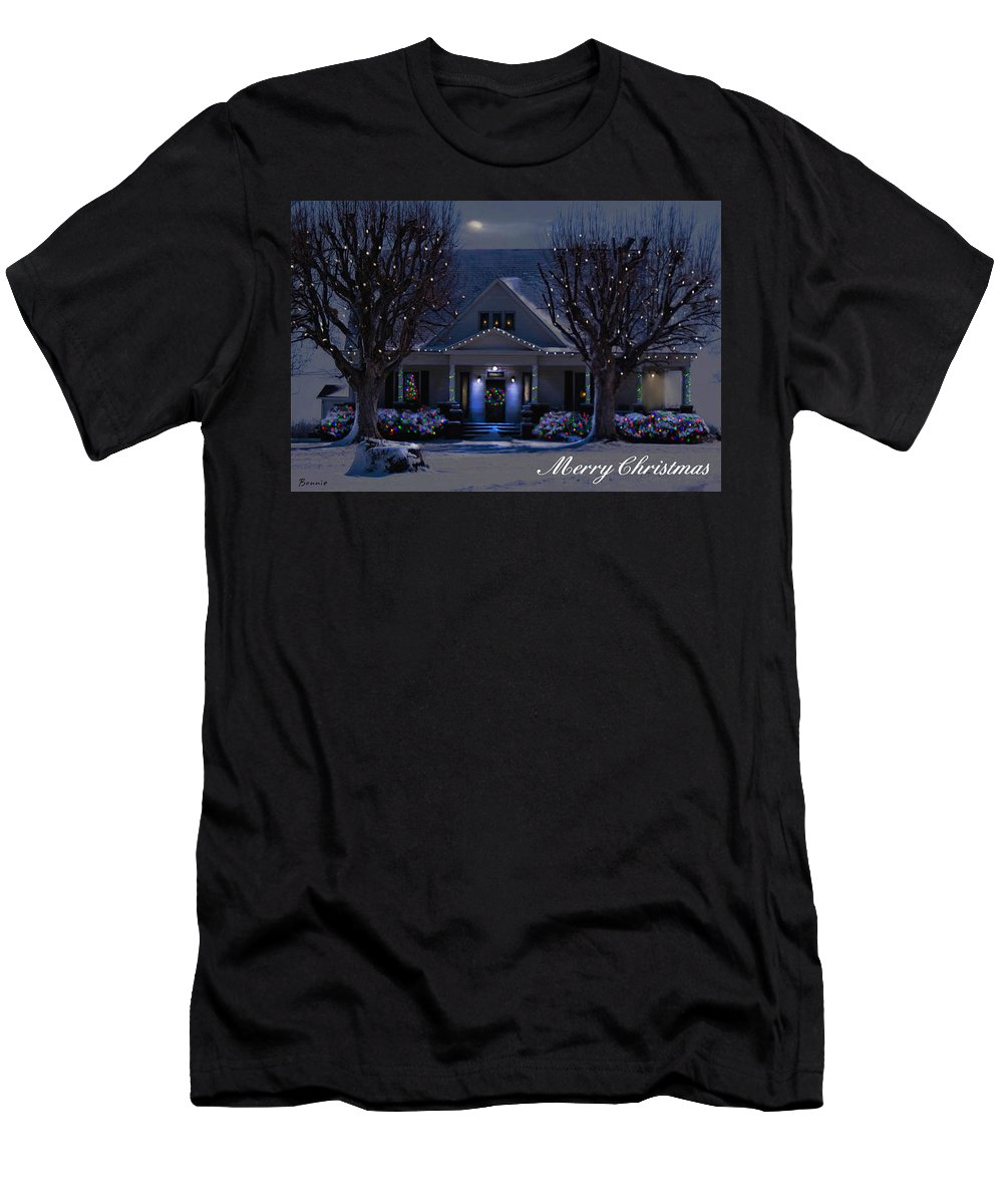 Home Men's T-Shirt (Athletic Fit) featuring the photograph Home For Christmas by Bonnie Willis