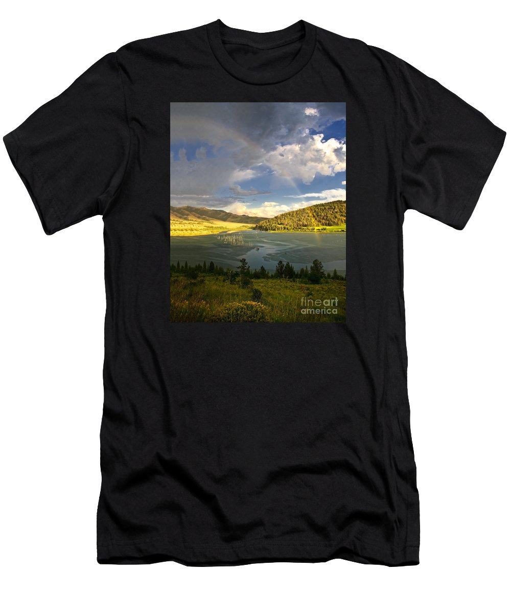 Rainbow Men's T-Shirt (Athletic Fit) featuring the photograph Homeground Rainbow Landscape by Timothy Flanigan