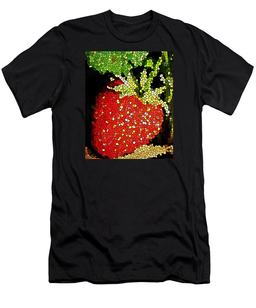 Strawberry Men's T-Shirt (Athletic Fit) featuring the photograph Homegrown Strawberry Mosaic by Chris Berry