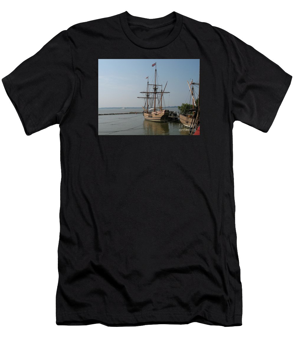 Homesteaders Men's T-Shirt (Athletic Fit) featuring the photograph Homesteaders Sailing Ships by Christiane Schulze Art And Photography