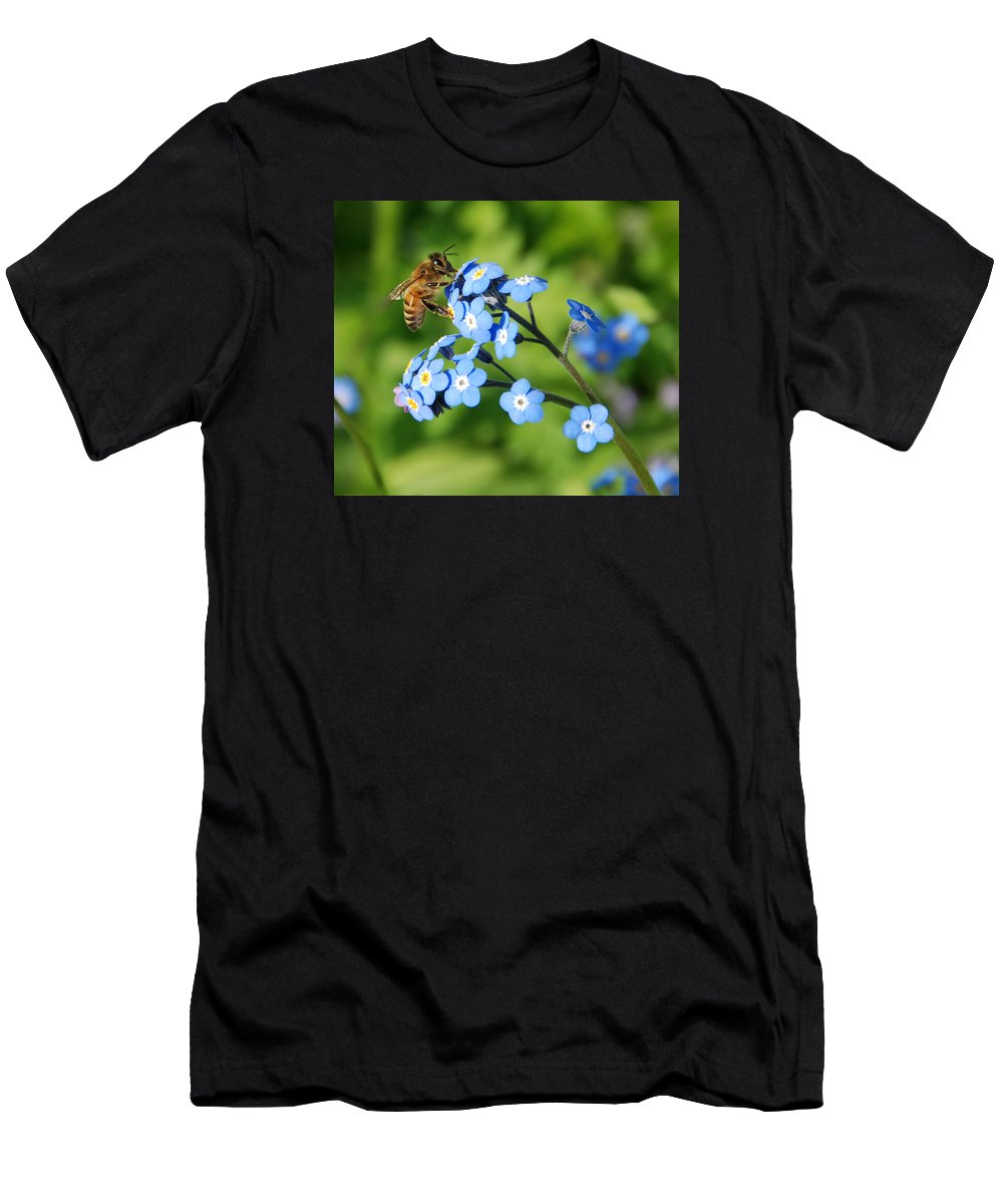 Animal Men's T-Shirt (Athletic Fit) featuring the photograph Honey Bee On Forget-me-not Flowers by Marv Vandehey