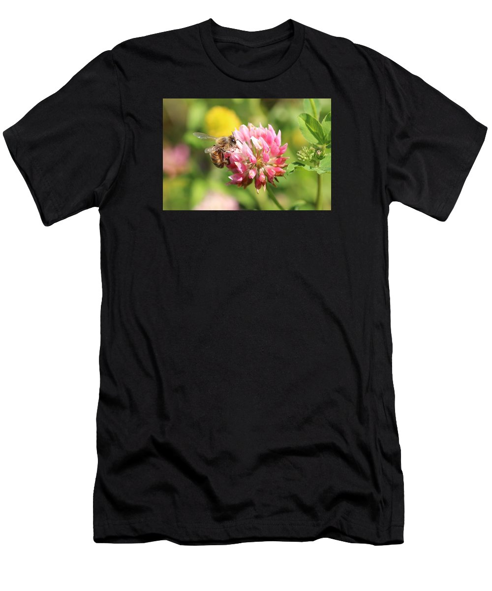 Honeybee Men's T-Shirt (Athletic Fit) featuring the photograph Honeybee And Clover by Lucinda VanVleck