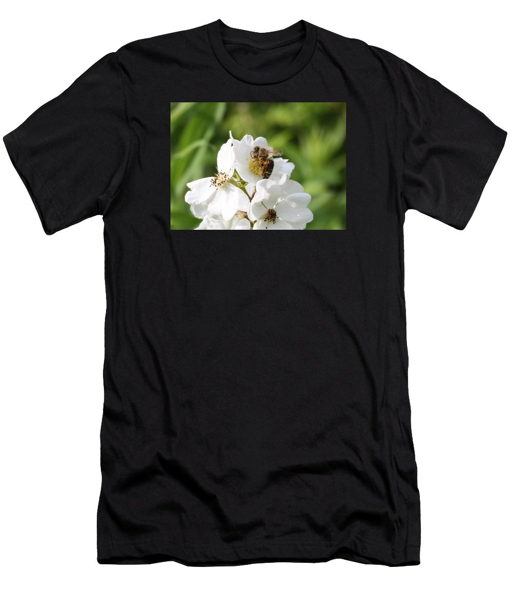 Honeybee Men's T-Shirt (Athletic Fit) featuring the photograph Honeybee Hands by Lucinda VanVleck