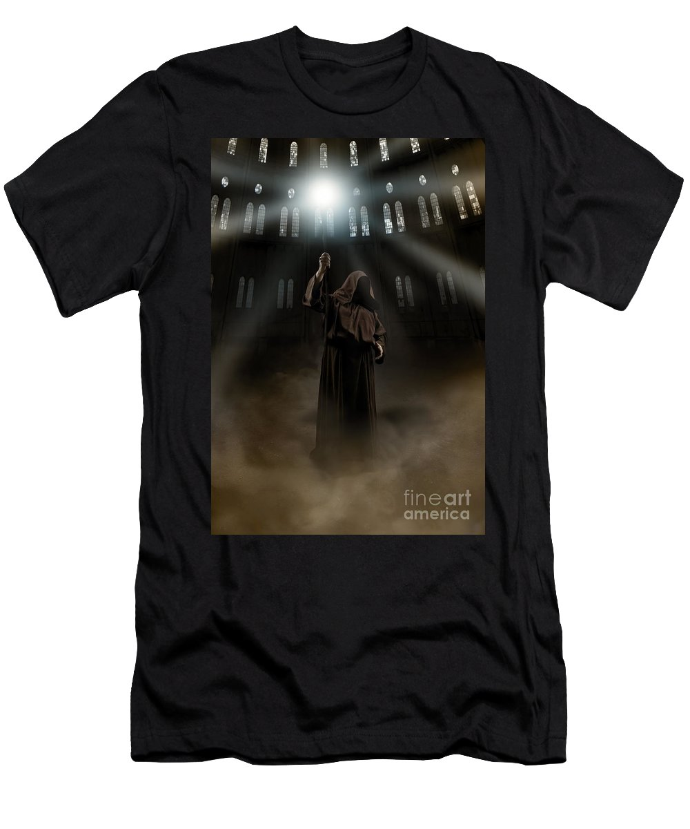 Staff Men's T-Shirt (Athletic Fit) featuring the photograph Hooded Man Holding Glowing Wizard Staff by Jaroslaw Blaminsky