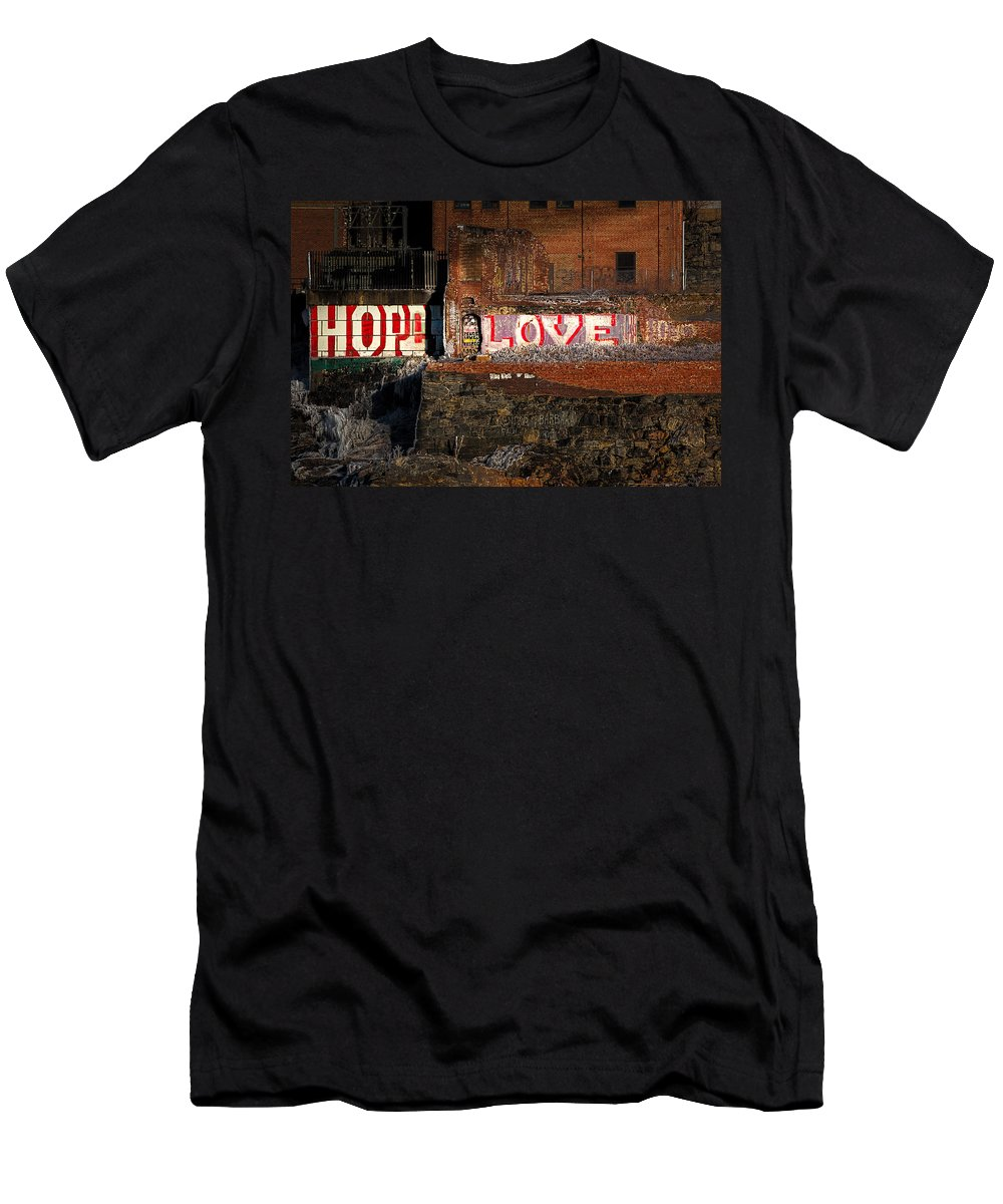 Urban Men's T-Shirt (Athletic Fit) featuring the photograph Hope Love Lovelife by Bob Orsillo