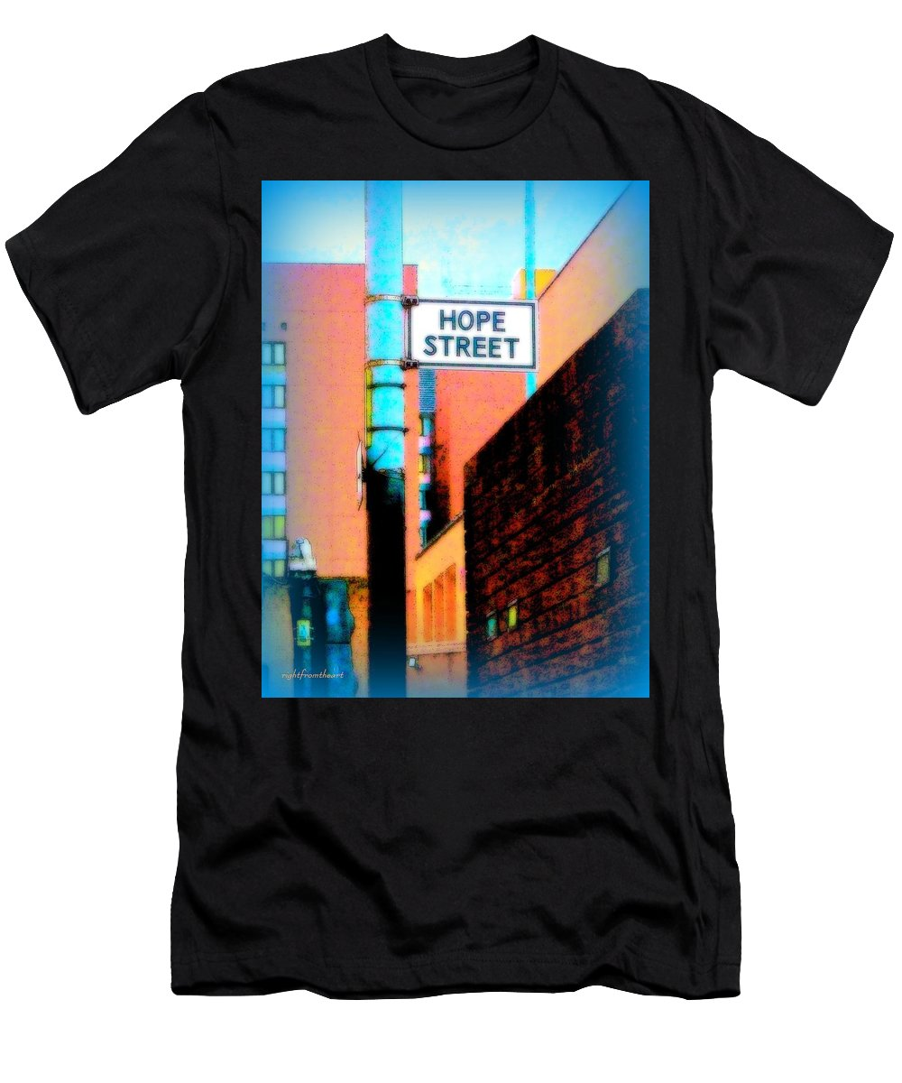 Rightfromtheart Men's T-Shirt (Athletic Fit) featuring the photograph Hope Street by Bob and Kathy Frank