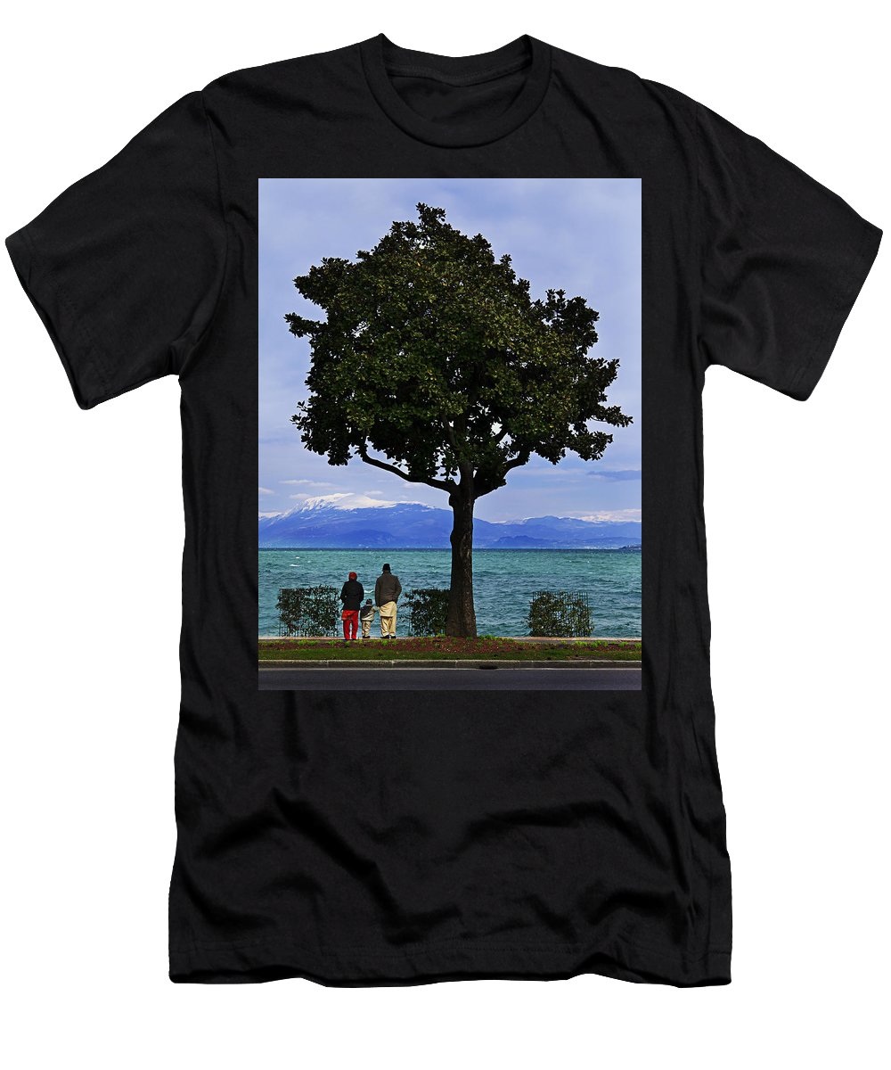 Lago Di Garda Men's T-Shirt (Athletic Fit) featuring the photograph Hopes Wishes And Dreams by Alfio Finocchiaro