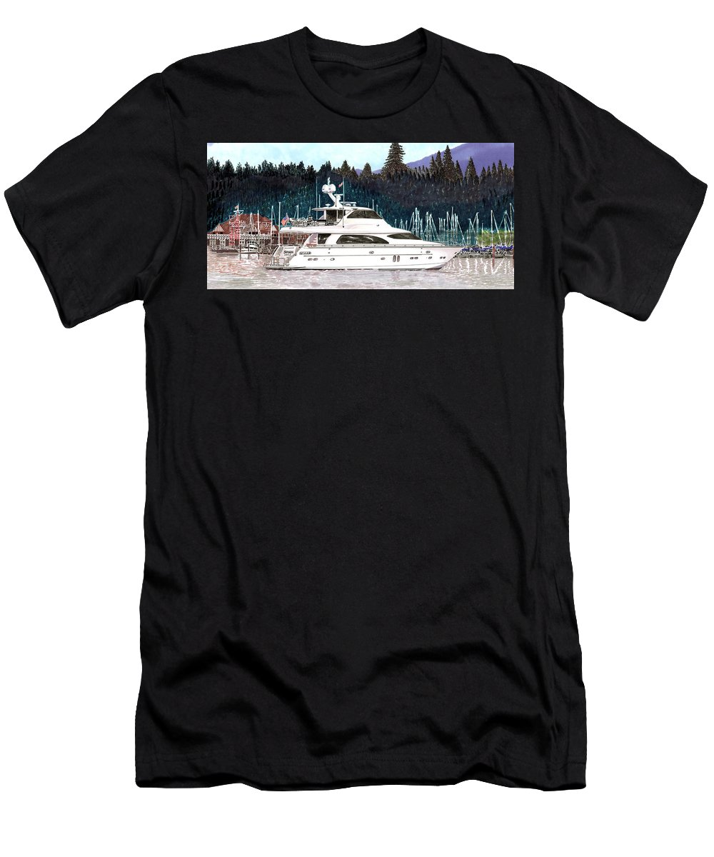 Horizon My Men's T-Shirt (Athletic Fit) featuring the painting Vancouver Rowing Club by Jack Pumphrey