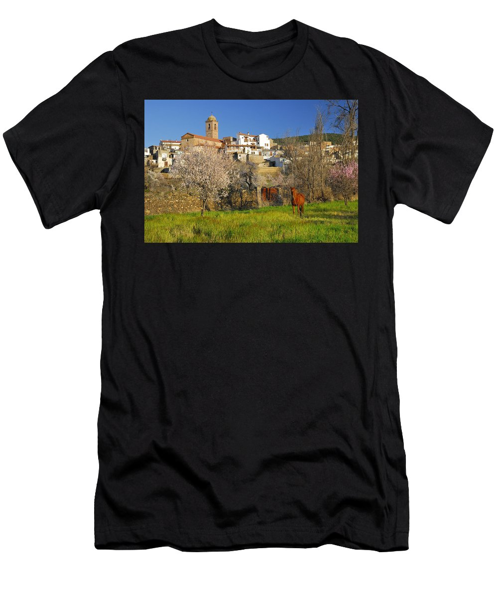 Horse Men's T-Shirt (Athletic Fit) featuring the photograph Horse At Alpujarras Village by Guido Montanes Castillo