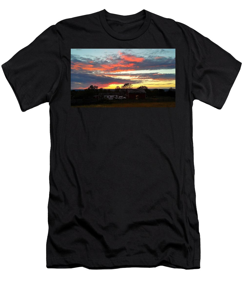 Landscape Men's T-Shirt (Athletic Fit) featuring the photograph Horse Farm Story by Mark Victors