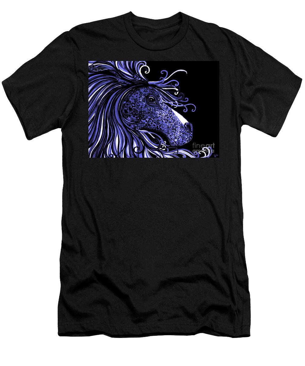 Horse Men's T-Shirt (Athletic Fit) featuring the drawing Horse Head Blues by Nick Gustafson