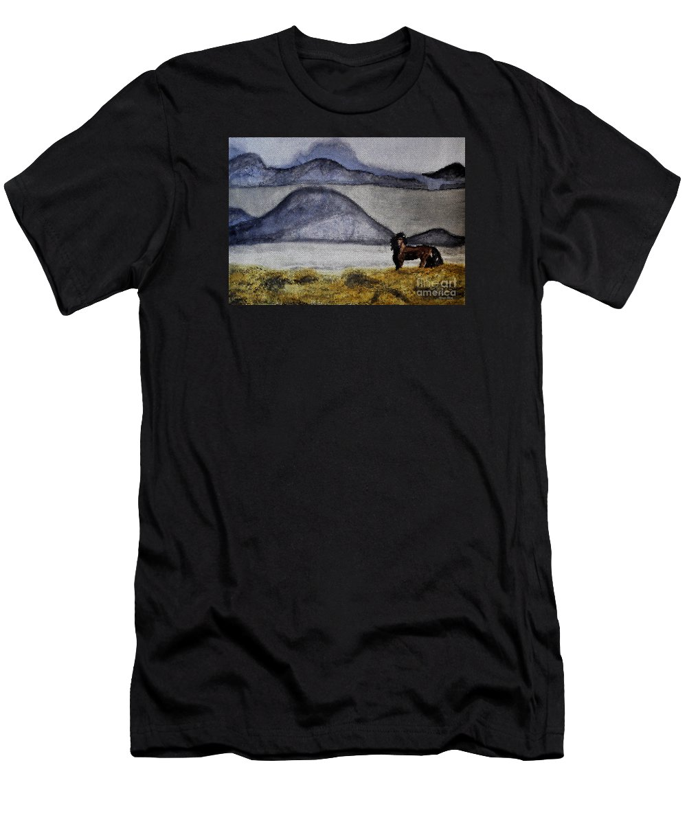 Watercolors Men's T-Shirt (Athletic Fit) featuring the mixed media Horse Of The Mountains With Stained Glass Effect by Verana Stark
