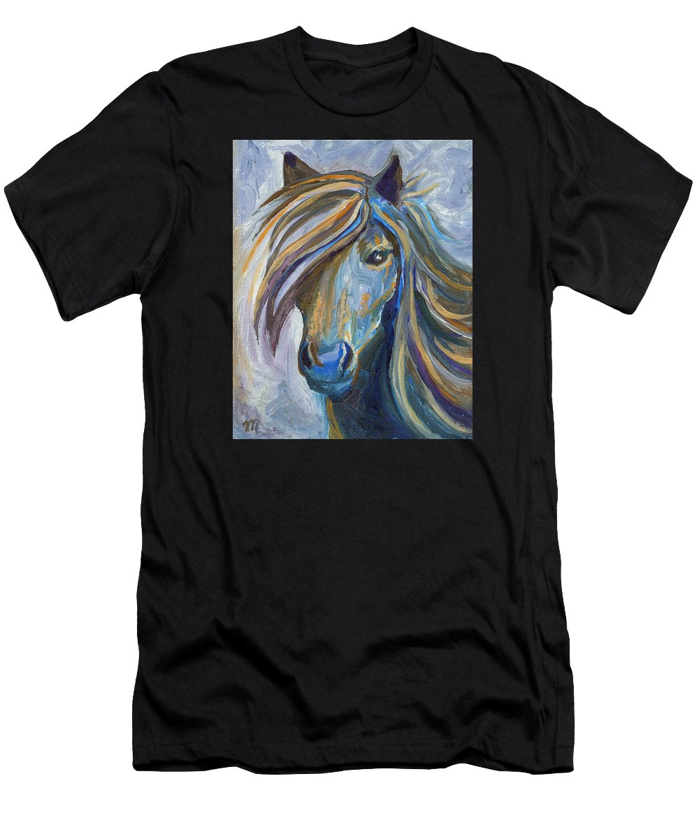 Horses Men's T-Shirt (Athletic Fit) featuring the painting Horse Portrait 102 by Linda Mears