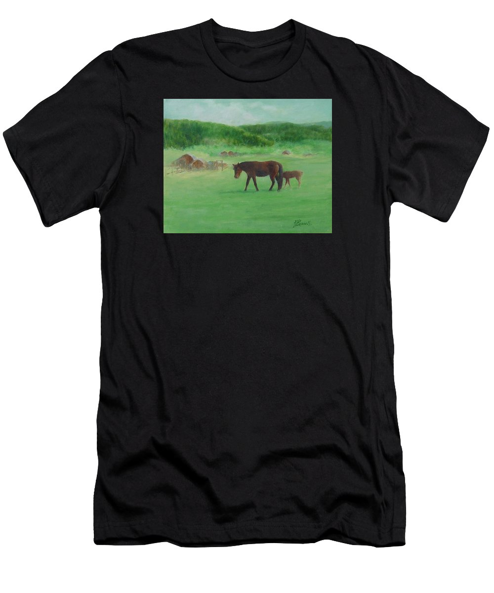 Rural Landscape Painting Men's T-Shirt (Athletic Fit) featuring the painting Horses Rural Pasture Western Landscape Original Oil Colorful Art Oregon Artist K. Joann Russell by K Joann Russell