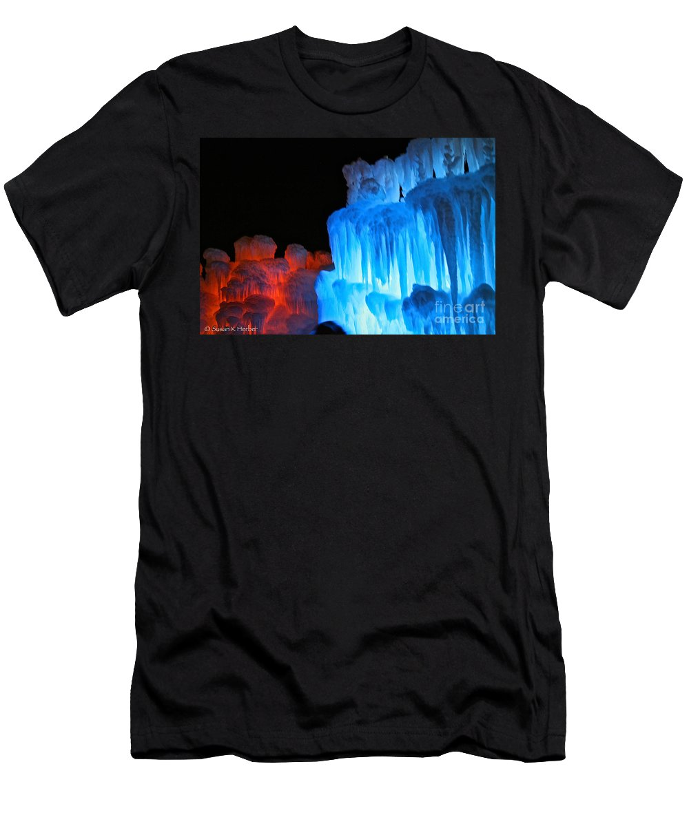 Ice Men's T-Shirt (Athletic Fit) featuring the photograph Hot Cold by Susan Herber