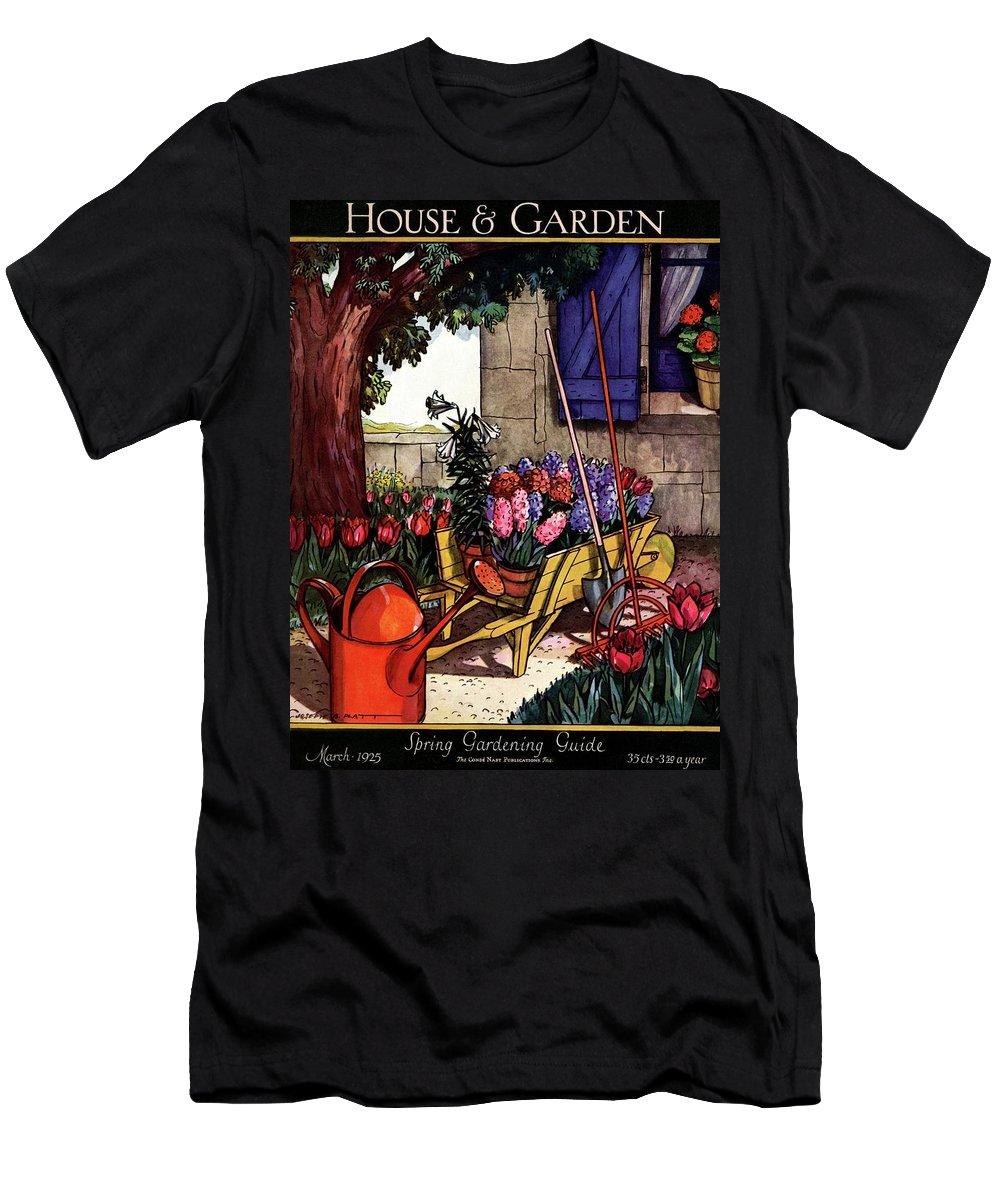 House & Garden Men's T-Shirt (Athletic Fit) featuring the photograph House & Garden Cover Illustration Of Garden Scene by Joseph B. Platt