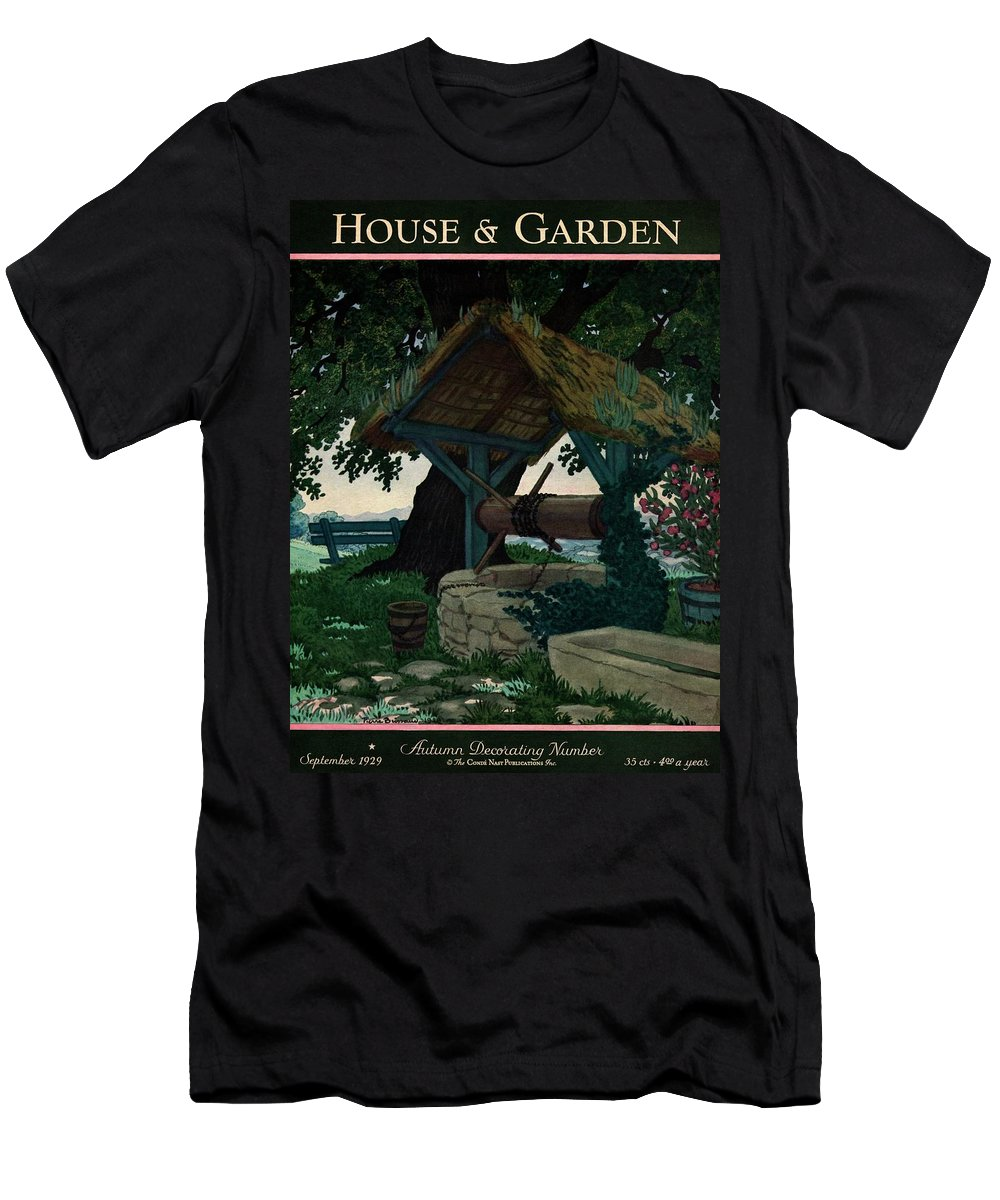 House And Garden T-Shirt featuring the photograph House And Garden Autumn Decorating Number Cover by Pierre Brissaud