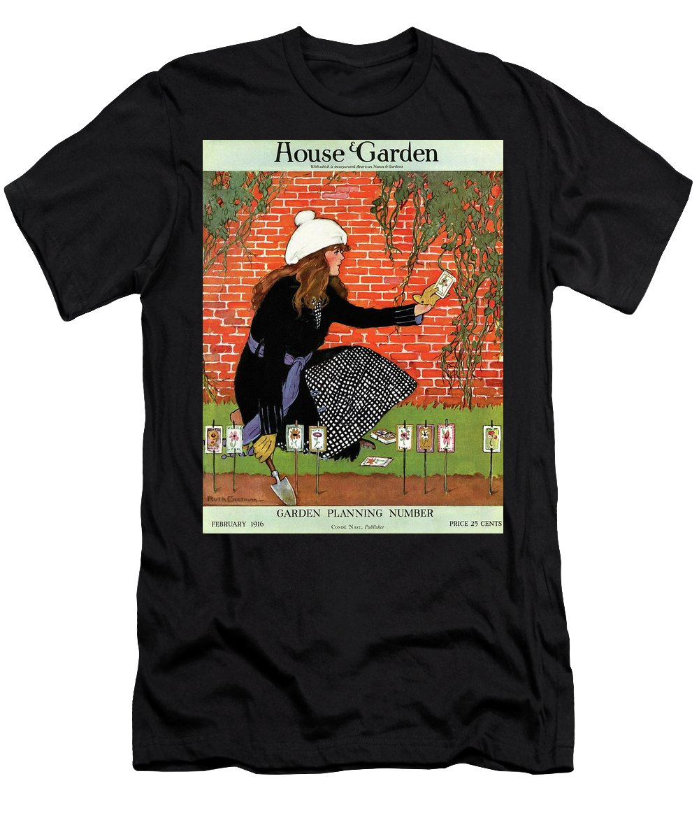 House And Garden Men's T-Shirt (Athletic Fit) featuring the photograph House And Garden Garden Planting Number Cover by Ruth Easton