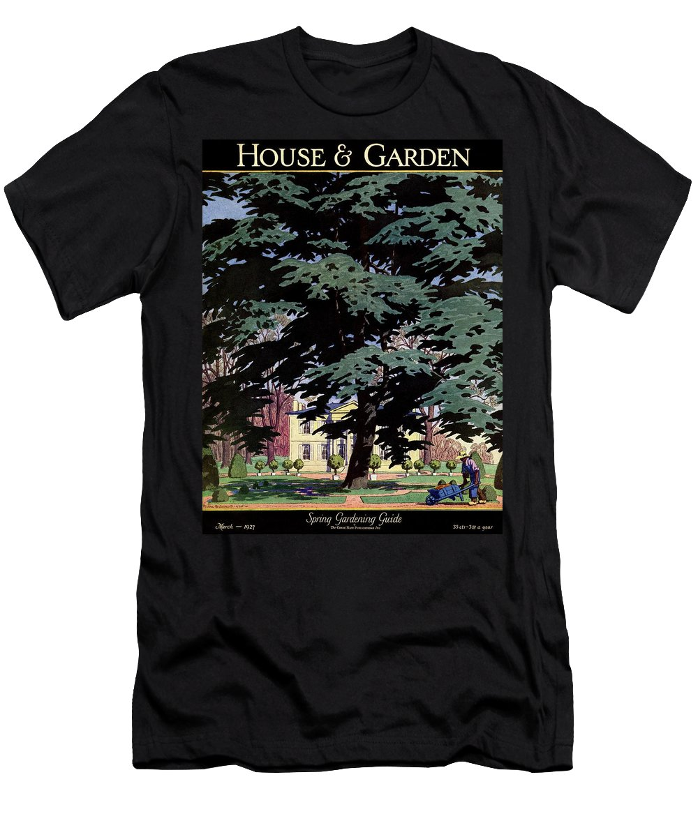 House And Garden Men's T-Shirt (Athletic Fit) featuring the photograph House And Garden Spring Gardening Guide Cover by Pierre Brissaud