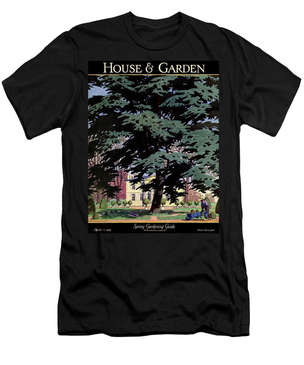 House And Garden T-Shirt featuring the photograph House And Garden Spring Gardening Guide Cover by Pierre Brissaud