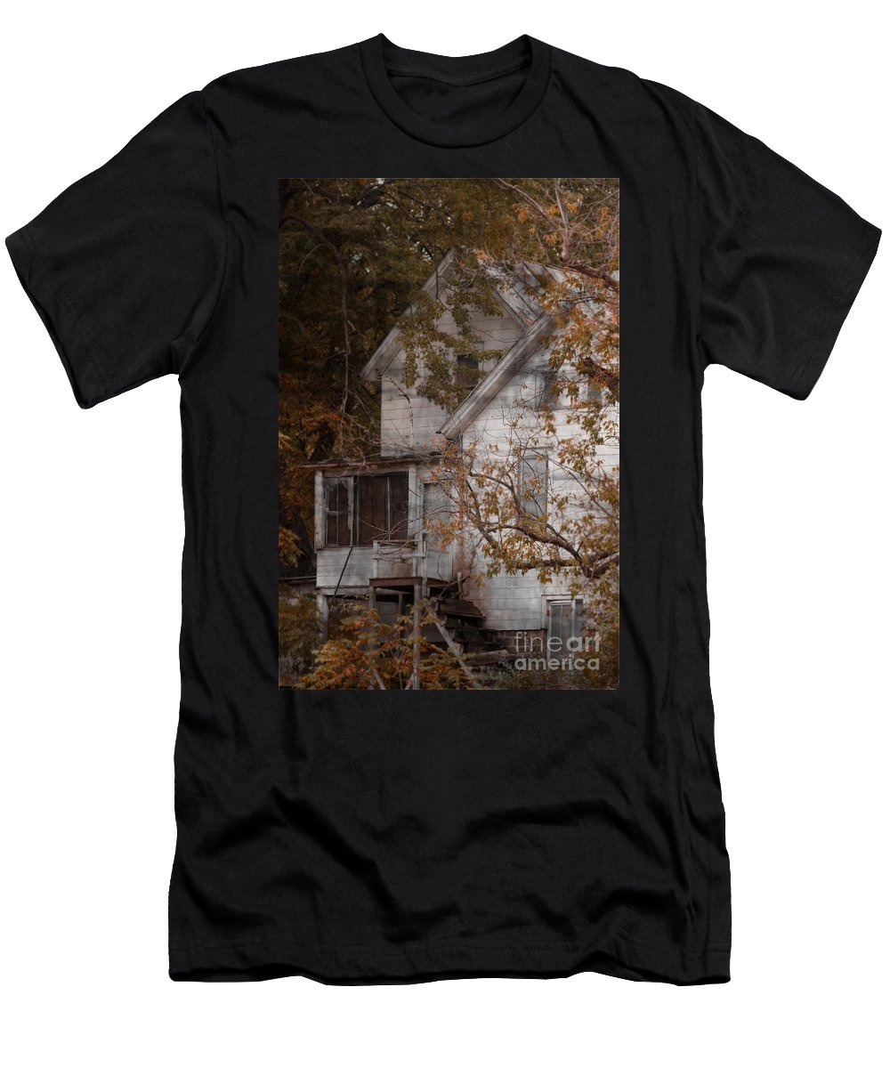 Abandoned; Home; House; Old; Farmhouse; Spooky; Peeling Paint; Derelict; Neglected; Sidewalk; Creepy; Dark; Entrance; Stairs; Door; Haunted; Porch; Eerie; Scary; Ruin; Mood; Gloomy; Rural Men's T-Shirt (Athletic Fit) featuring the photograph House In Fall by Margie Hurwich
