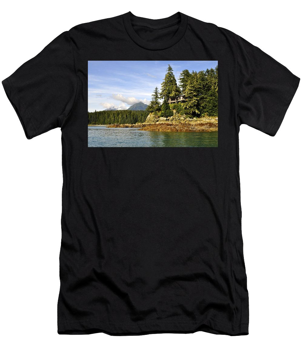 Landscape Men's T-Shirt (Athletic Fit) featuring the photograph House Upon A Rock by Cathy Mahnke