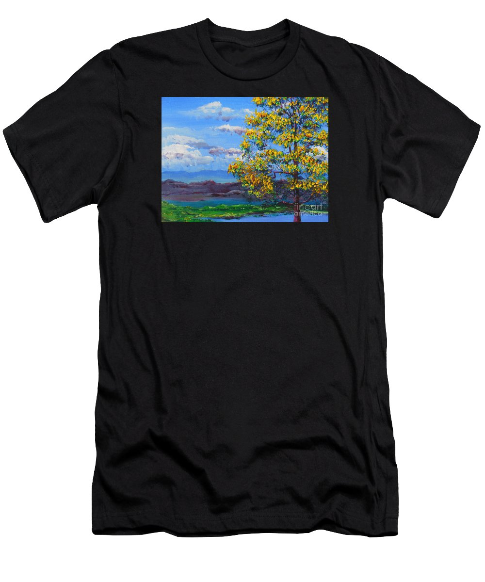 Lake View Men's T-Shirt (Athletic Fit) featuring the painting How Lovely Is Your Dwelling Place by Dan Whittemore