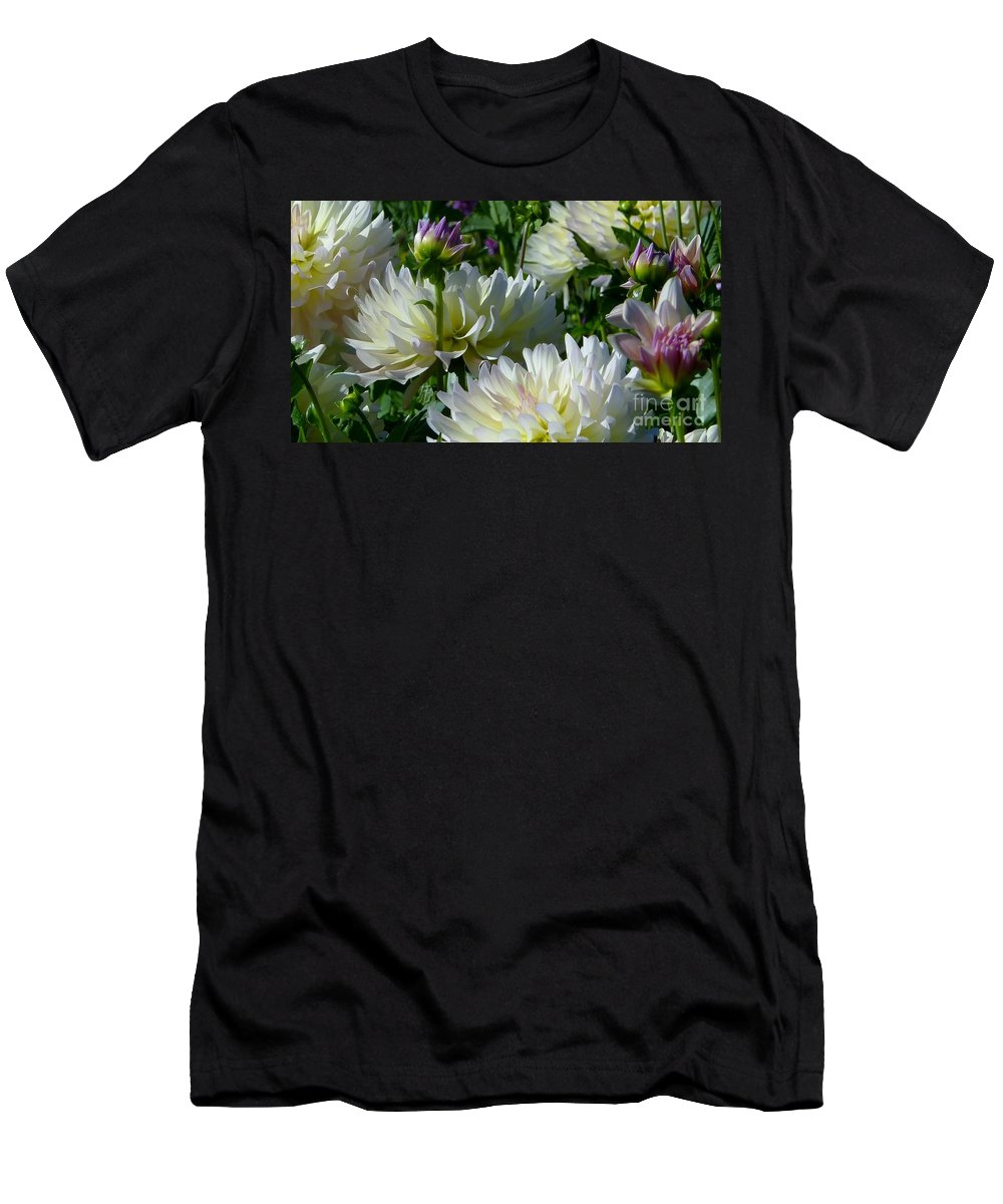Dahlia Festival Men's T-Shirt (Athletic Fit) featuring the photograph Hues Of Softness Dahlia by Susan Garren