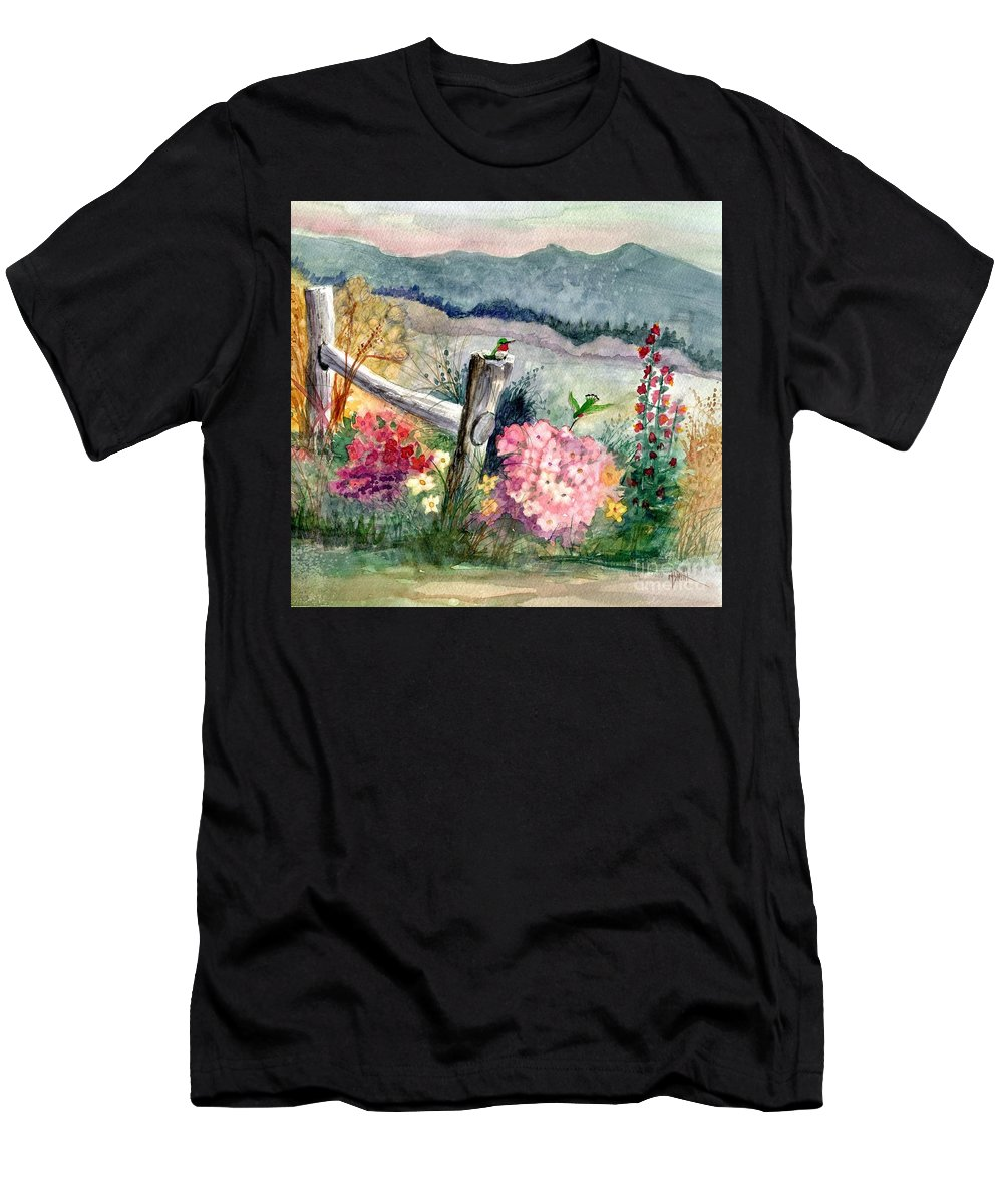 Hummingbirds Men's T-Shirt (Athletic Fit) featuring the painting Hummingbird Haven by Marilyn Smith
