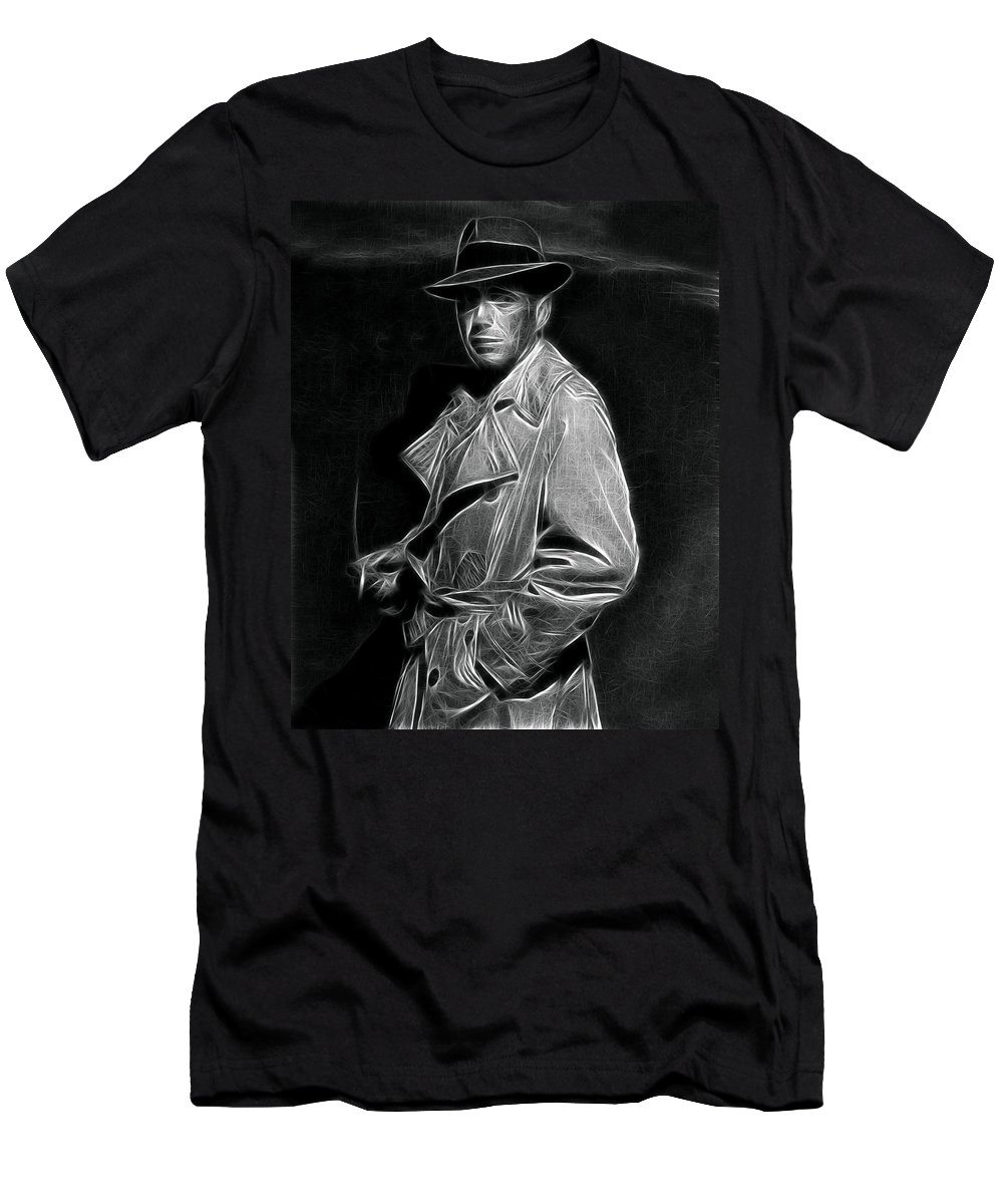 Bogart Men's T-Shirt (Athletic Fit) featuring the drawing Humphrey Bogart - Pencil by Doc Braham