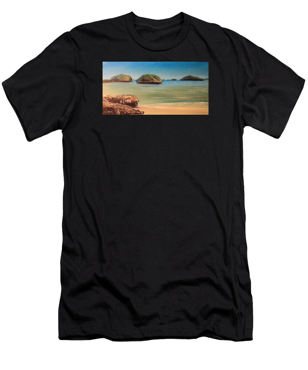 Beach Men's T-Shirt (Athletic Fit) featuring the painting Hundred Islands In Philippines by Remegio Onia