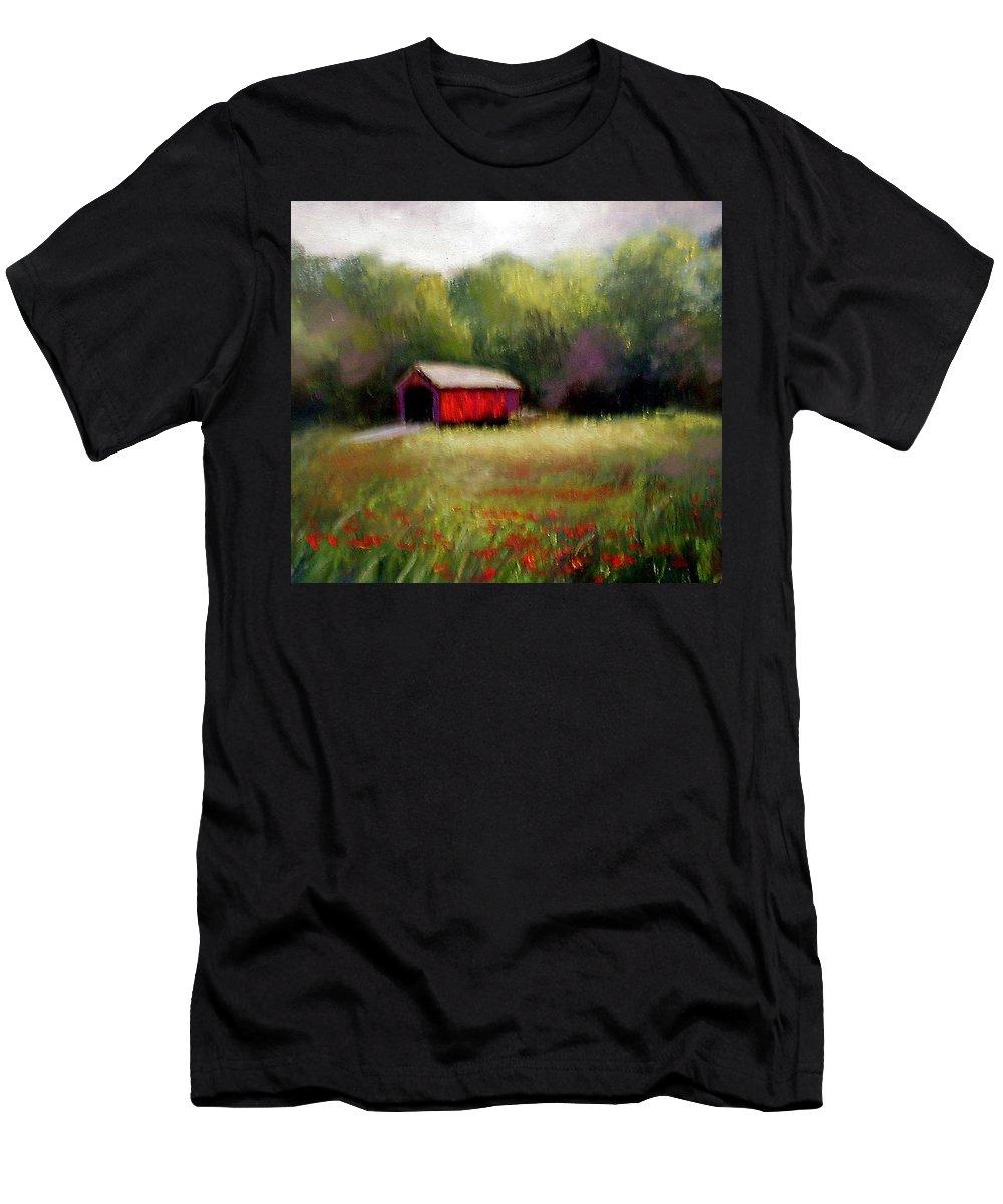 Covered Bridge Men's T-Shirt (Athletic Fit) featuring the painting Hune Bridge by Gail Kirtz