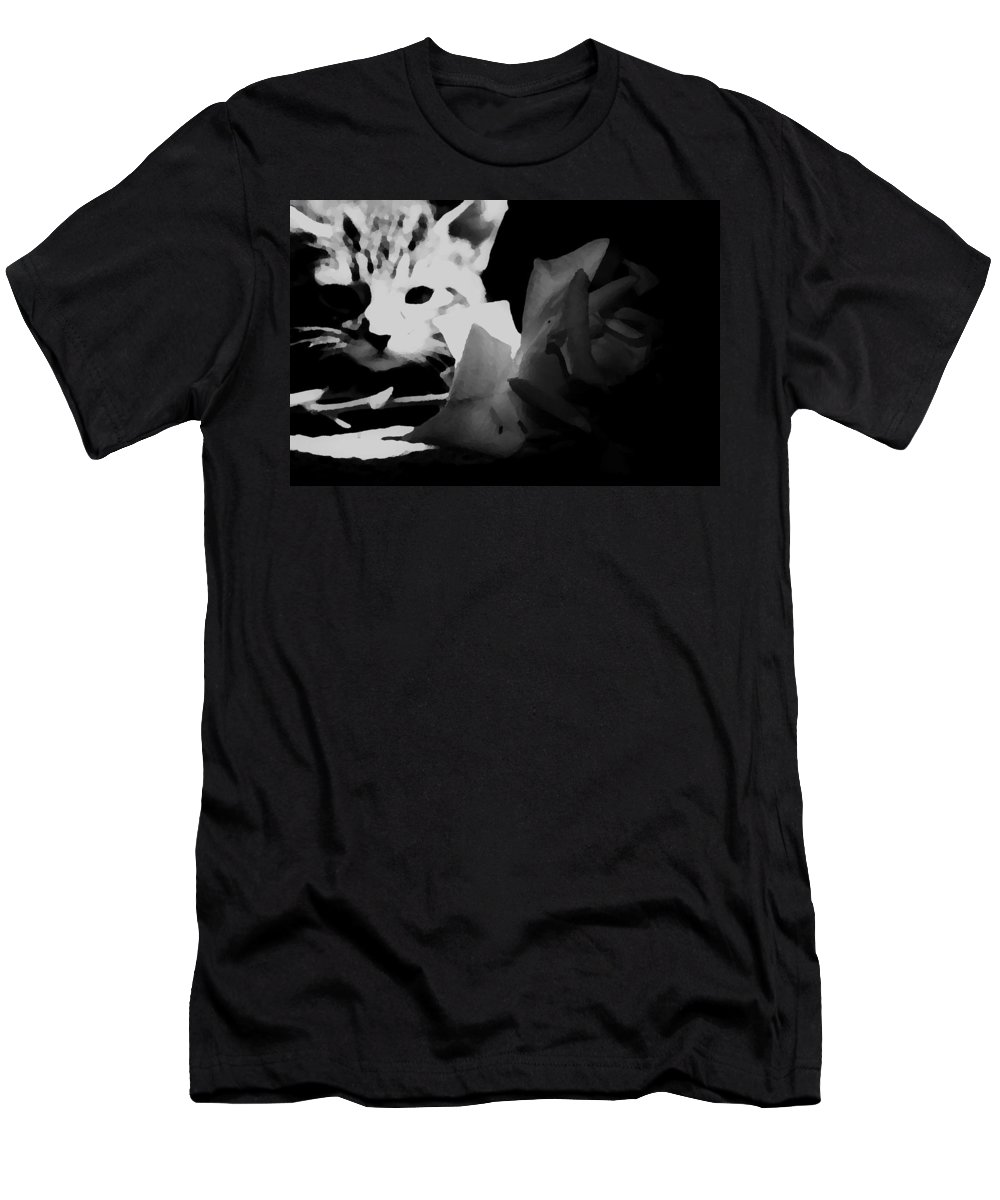 Cats Men's T-Shirt (Athletic Fit) featuring the photograph Hunt Of The Rose by Jessica Shelton