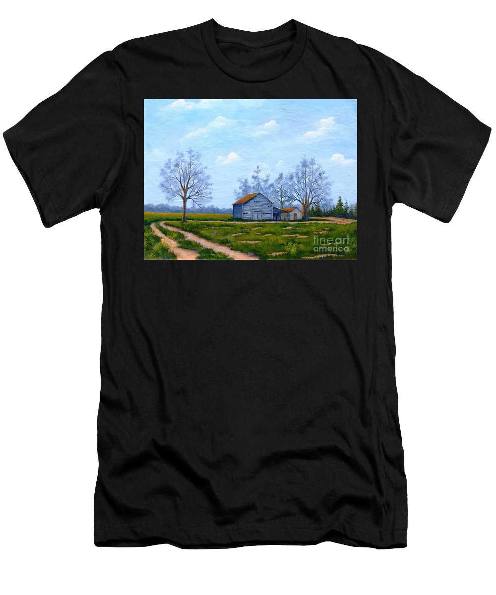 Farm Men's T-Shirt (Athletic Fit) featuring the painting Hwy 302 Farm by Jerry Walker