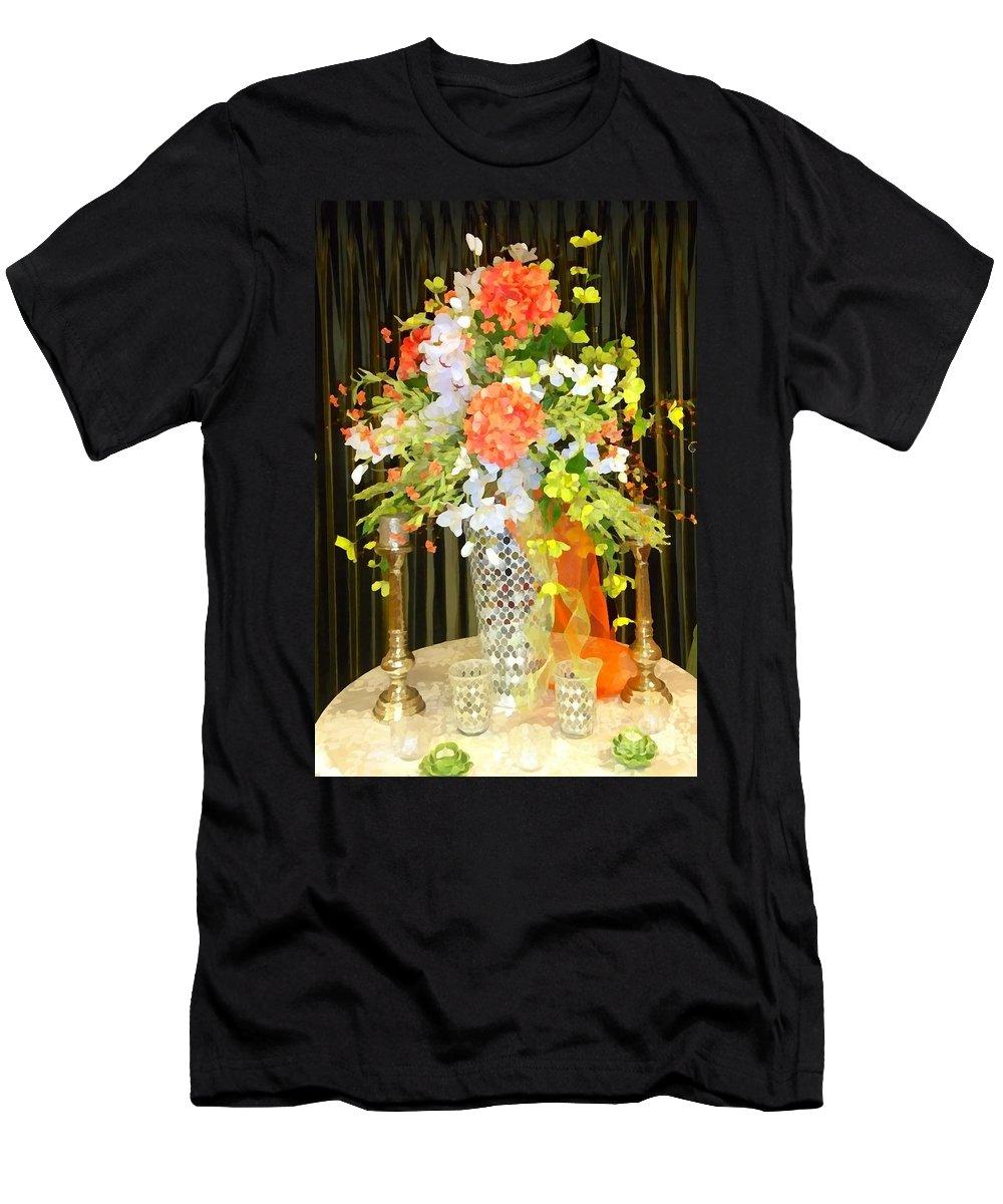Hydrangeas Men's T-Shirt (Athletic Fit) featuring the photograph Hydrangea Centerpiece Artistic by Saundra Myles