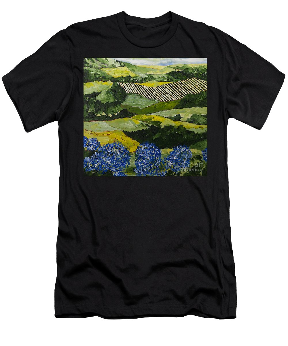 Landscape Men's T-Shirt (Athletic Fit) featuring the painting Hydrangea Valley by Allan P Friedlander