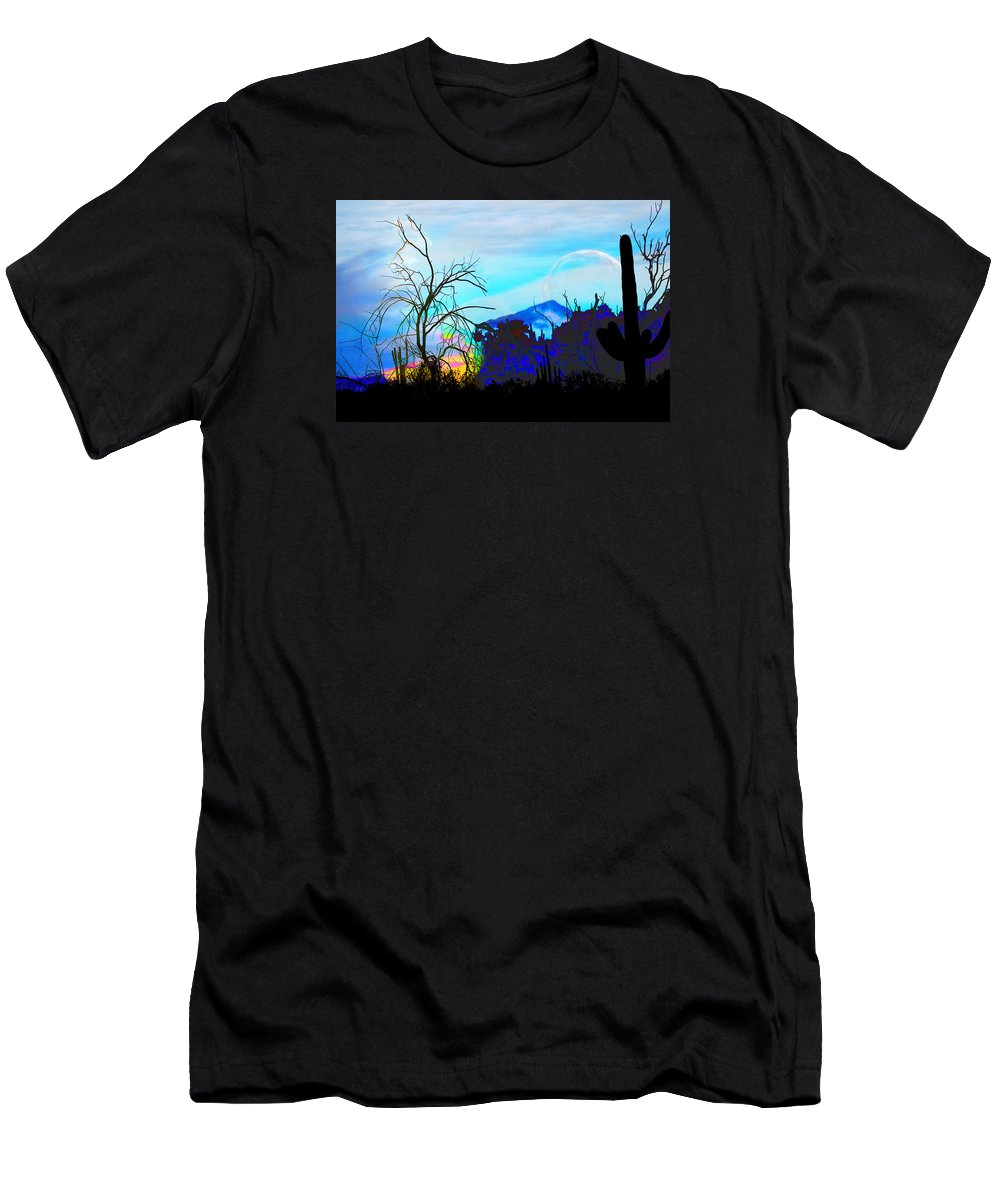 Desert Men's T-Shirt (Athletic Fit) featuring the digital art I Am And You Are The Moonset Acknowledging And Accepting Our Past Mistakes- Autumn 1 by Arthur BRADford Klemmer