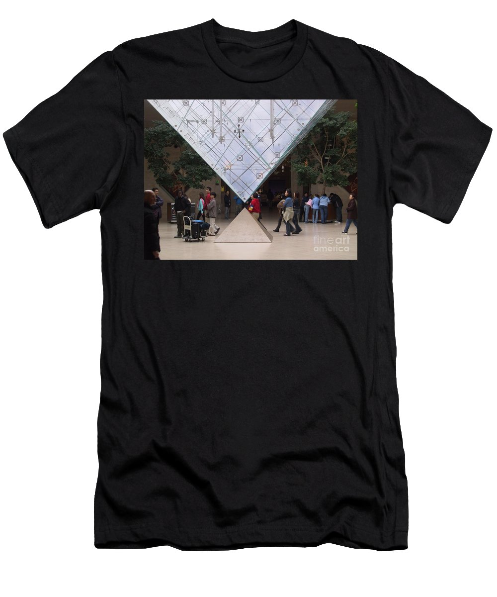 Architecture Men's T-Shirt (Athletic Fit) featuring the photograph I M Pei Pyramid Inside The Louvre Entrance by Thomas Marchessault
