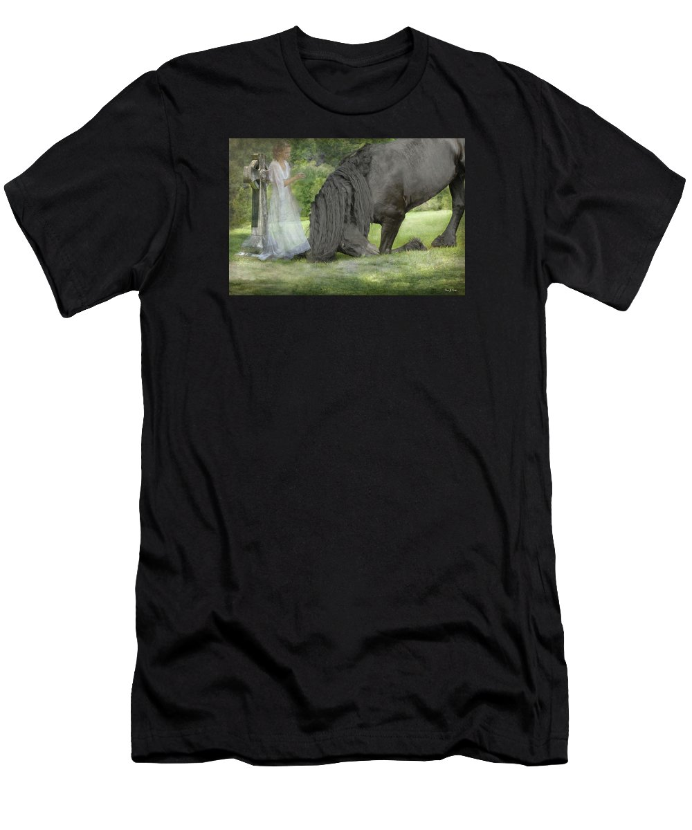 Horses Men's T-Shirt (Athletic Fit) featuring the photograph I Miss You by Fran J Scott