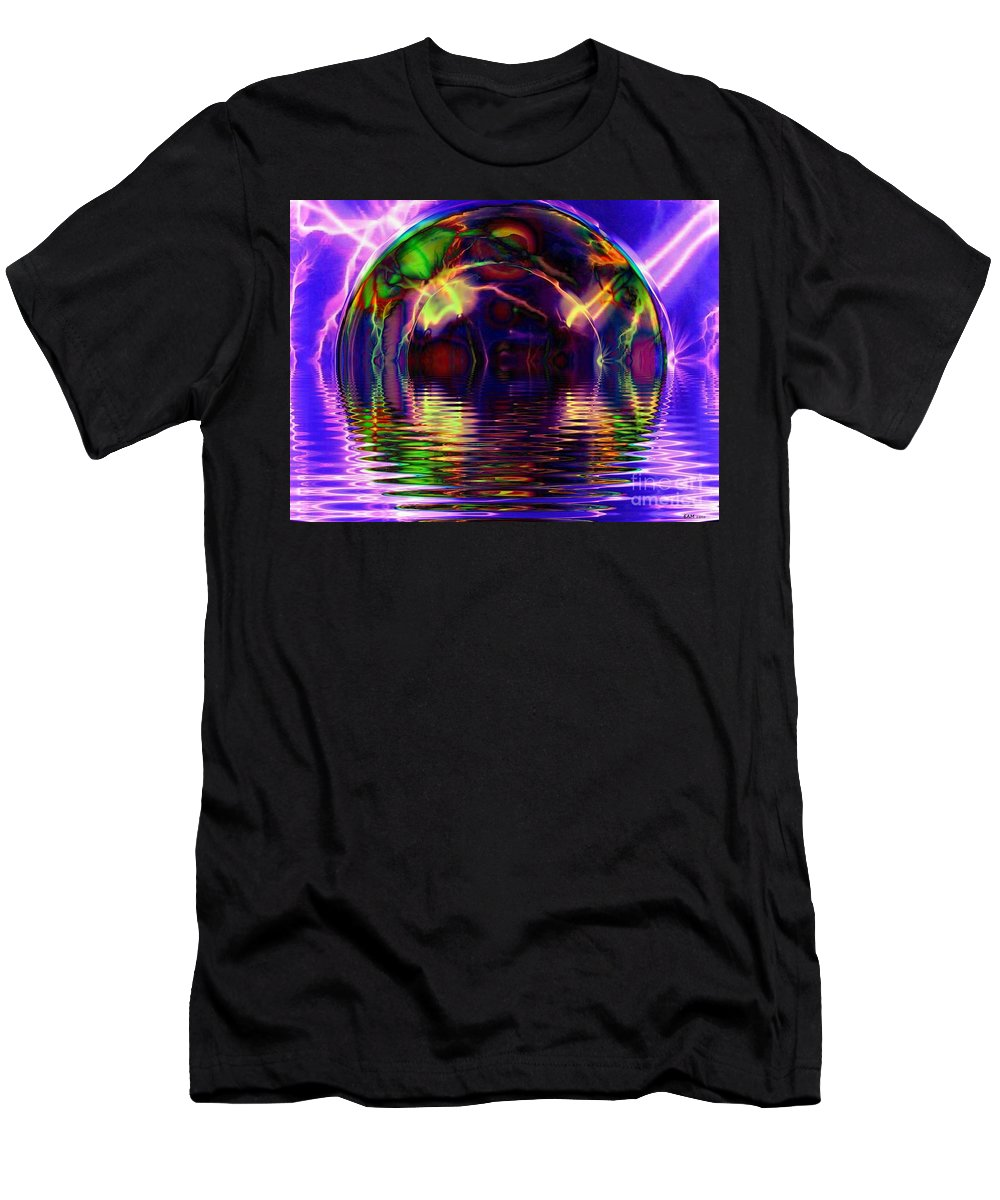 Fractal Art Men's T-Shirt (Athletic Fit) featuring the digital art I Sing The Bubble Electric by Elizabeth McTaggart