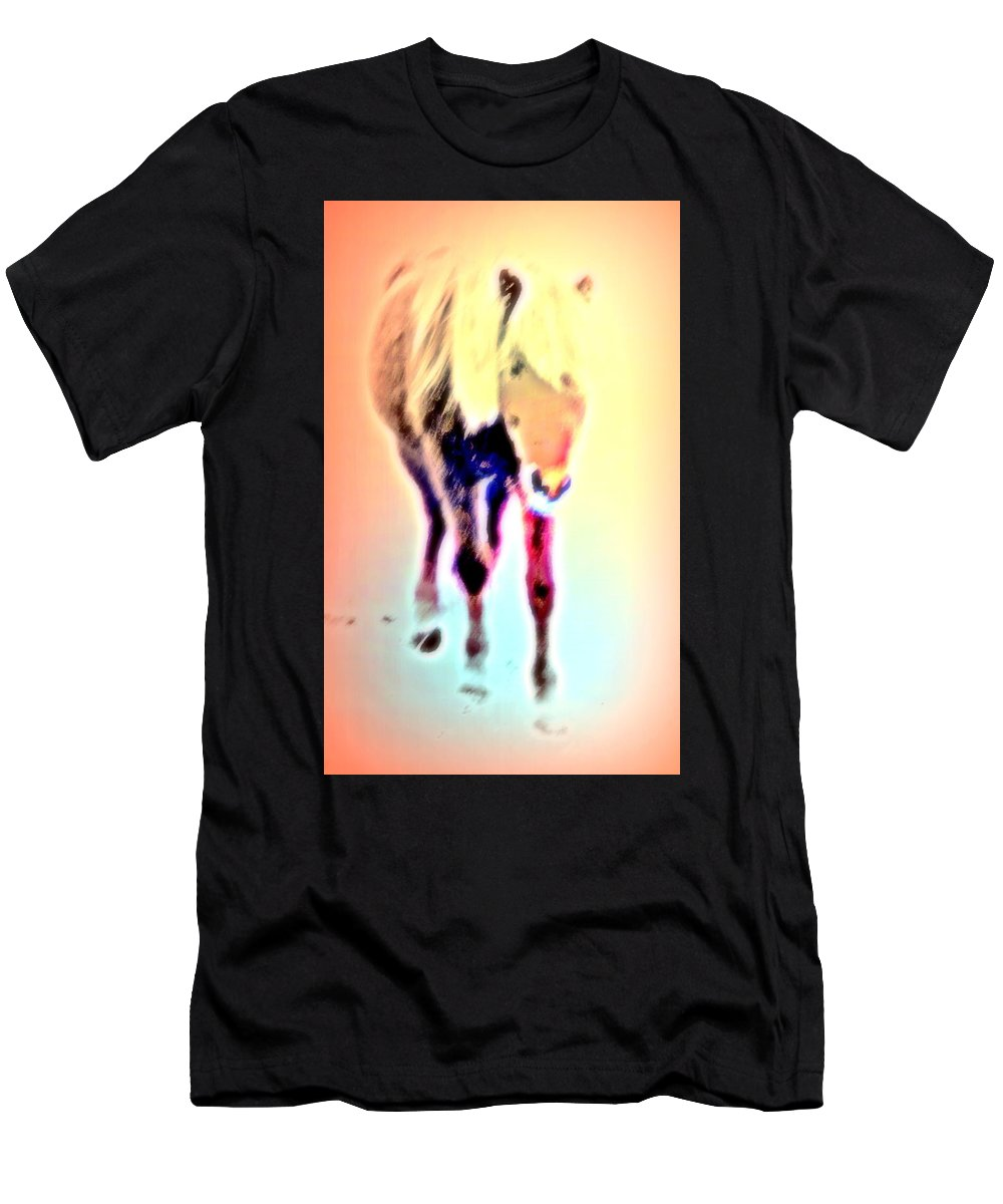 Horse Men's T-Shirt (Athletic Fit) featuring the photograph I Walk The Line And I Do It All By Myself by Hilde Widerberg
