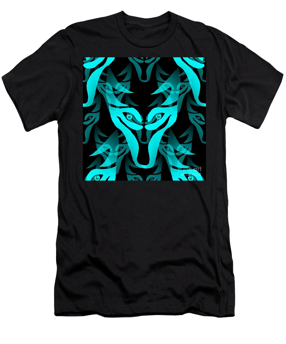 Wolf Men's T-Shirt (Athletic Fit) featuring the digital art Ice Wolf by Barbara Moignard