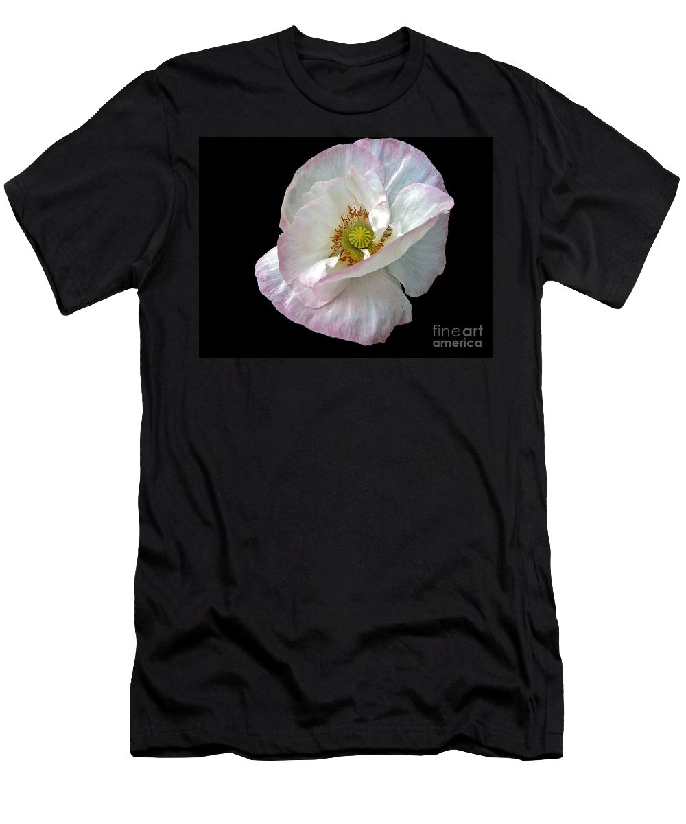 Icelandic Poppy On Black Men's T-Shirt (Athletic Fit) featuring the photograph Icelandic Poppy Version Two by Byron Varvarigos