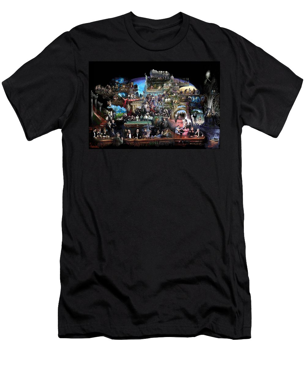 Icones Of History And Entertainment T-Shirt featuring the mixed media Icons Of History And Entertainment by Ylli Haruni