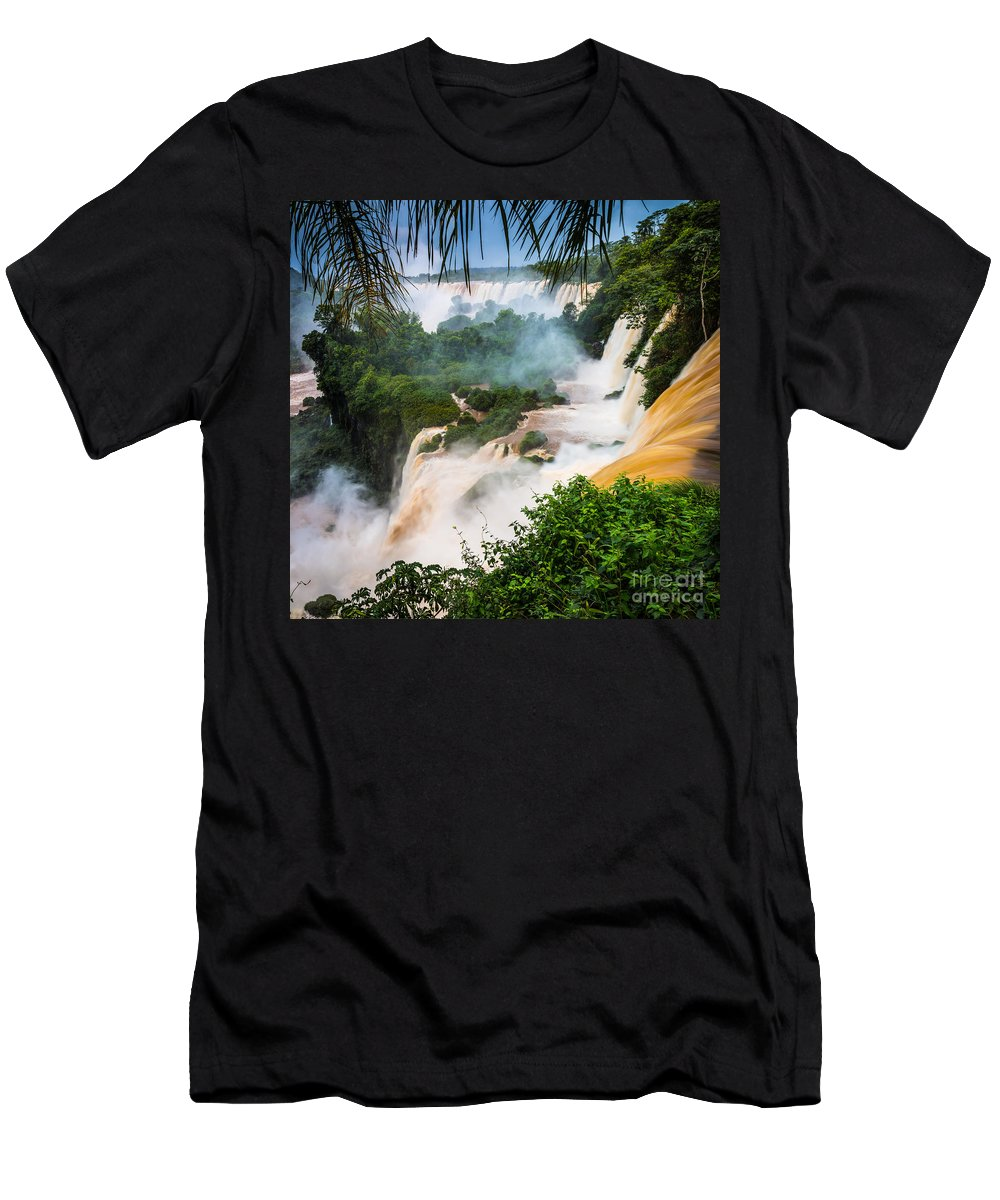 America Men's T-Shirt (Athletic Fit) featuring the photograph Iguazu Natural Wonder by Inge Johnsson