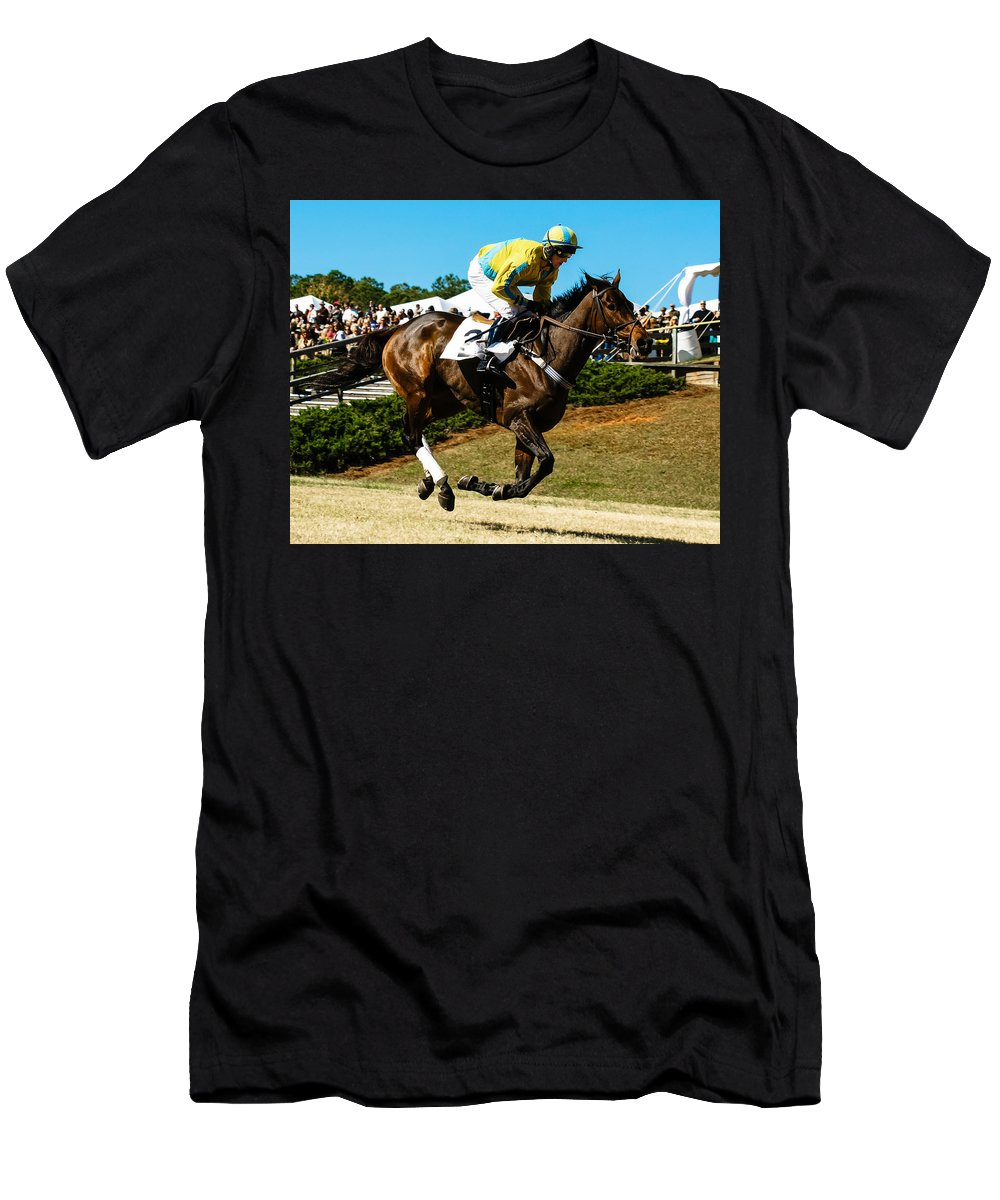 Steeplechase Men's T-Shirt (Athletic Fit) featuring the photograph I'm In Front by Robert L Jackson