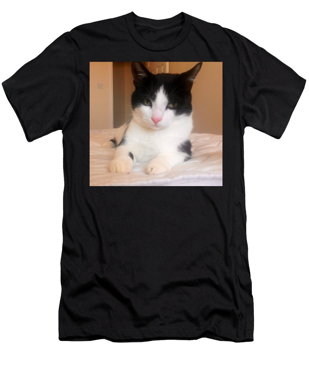 Pet Men's T-Shirt (Athletic Fit) featuring the painting Im Mummy's Pet by Judith Desrosiers