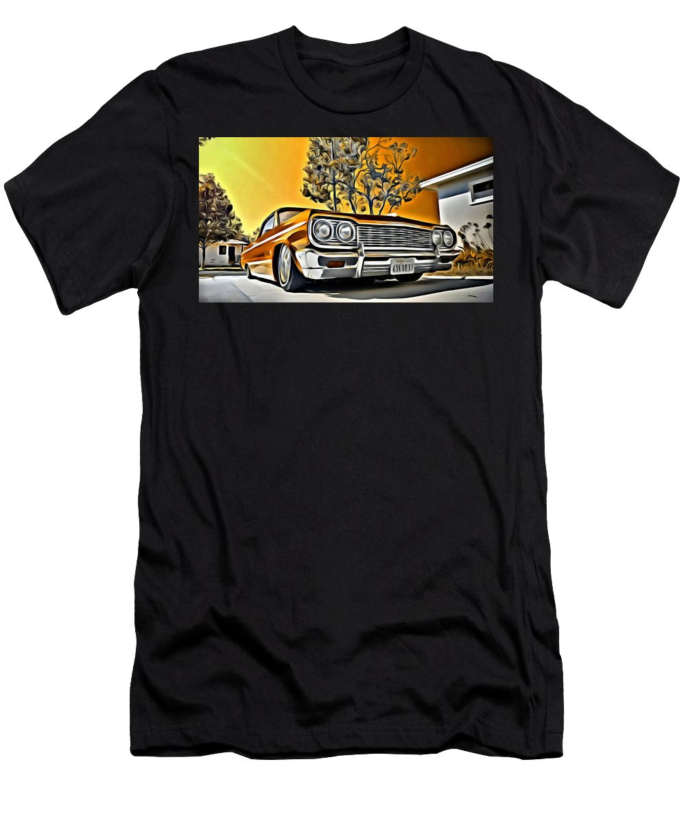 Car Men's T-Shirt (Athletic Fit) featuring the painting Impala Love by Florian Rodarte
